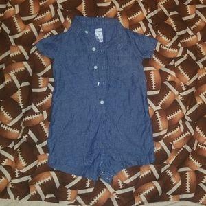 Baby Blue Jean Romper